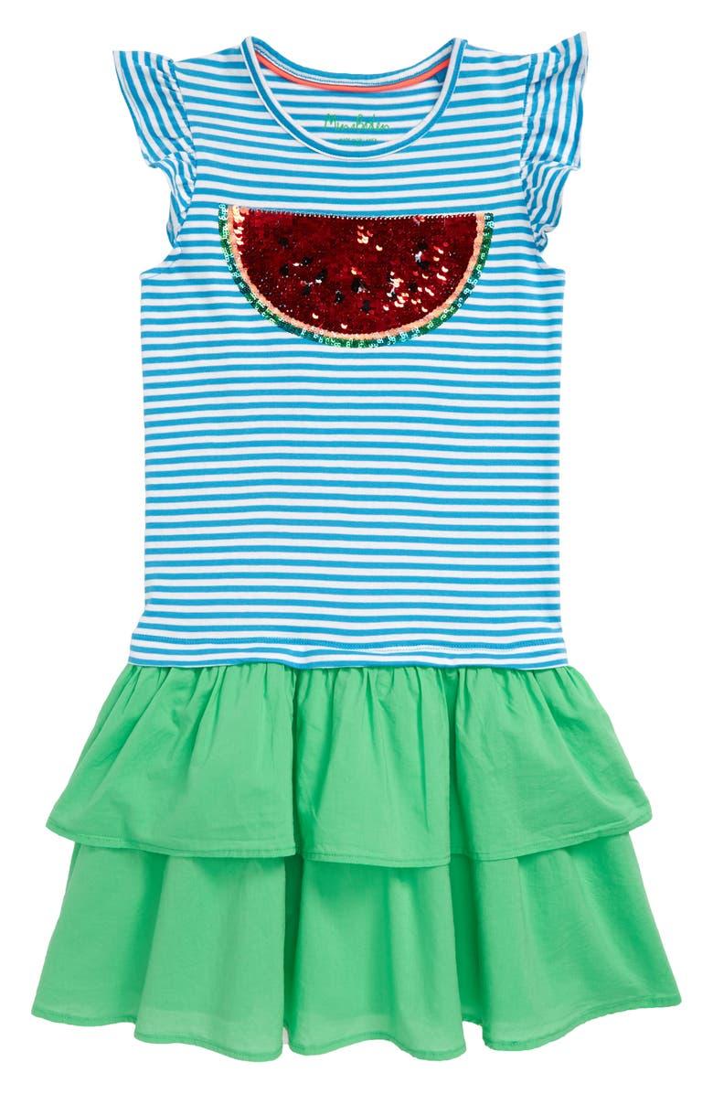 MINI BODEN Flip Sequin Dress, Main, color, BLU WHITE/ BLUE WATERMELON