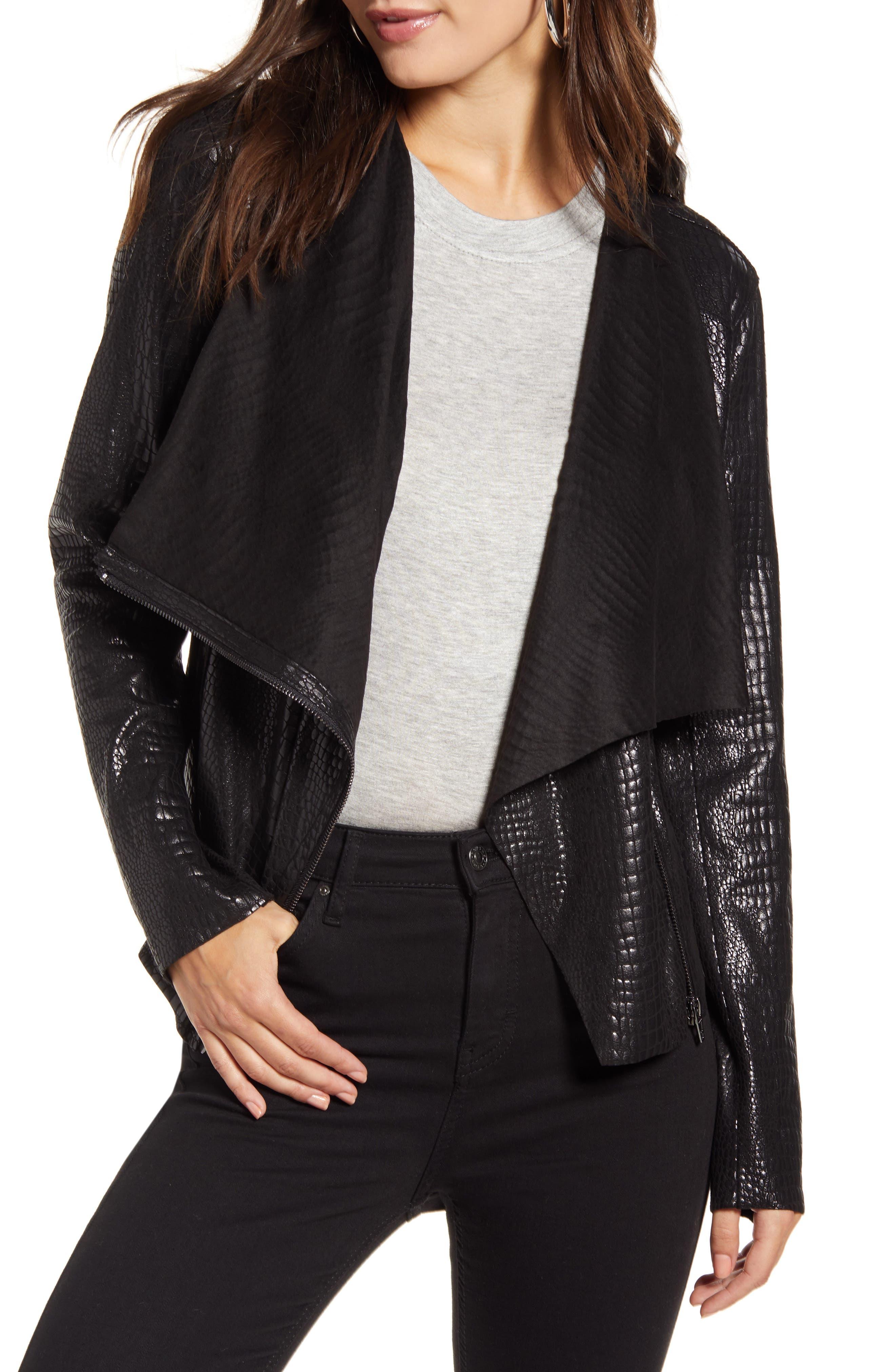 BLANKNYC Iron Girl Croc Embossed Faux Leather Jacket