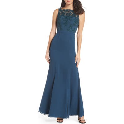 Chi Chi London Embroidered Bodice Gown, Green