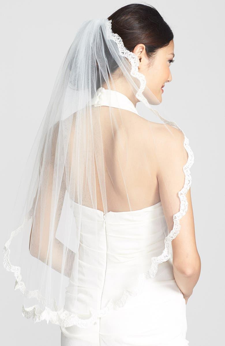 WEDDING BELLES NEW YORK 'Lola' Lace Border Veil, Main, color, 900