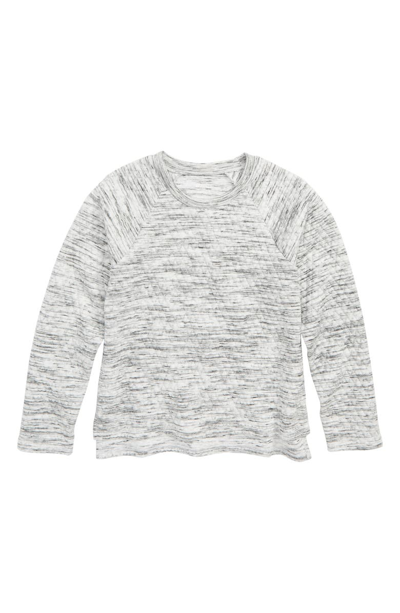 ZELLA GIRL Quilted Sweatshirt, Main, color, WHITE- BLACK