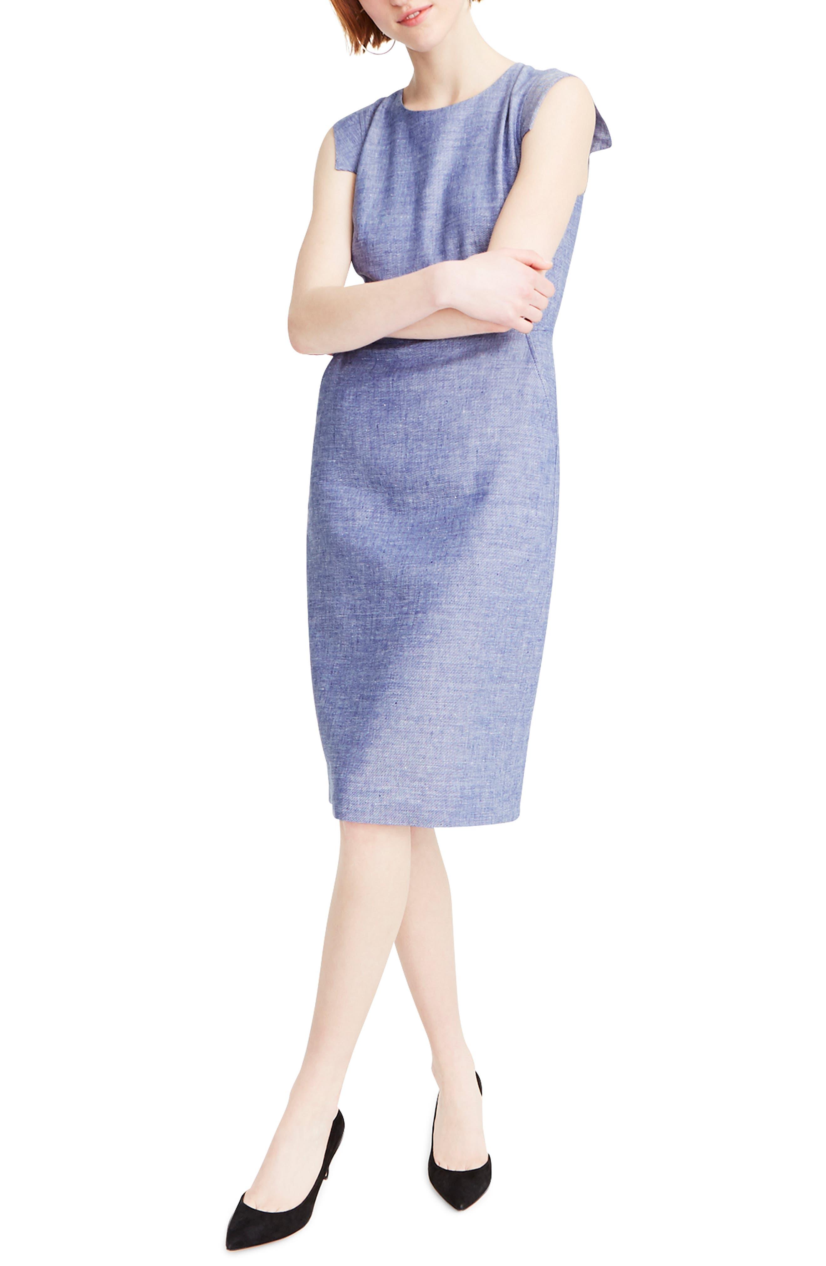 J.crew Resume Linen Blend Sheath Dress, Blue