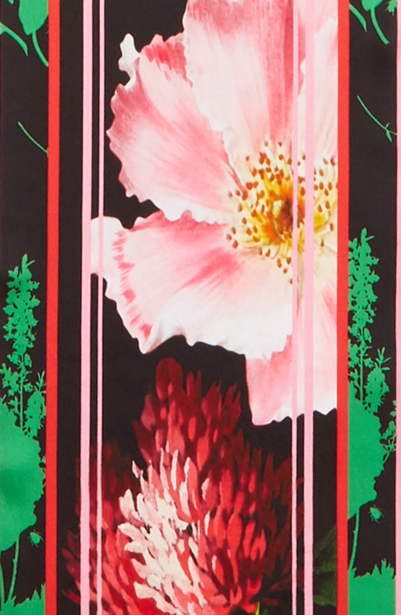 ,                             Berry Sundae Floral Silk Scarf,                             Alternate thumbnail 4, color,                             BLACK