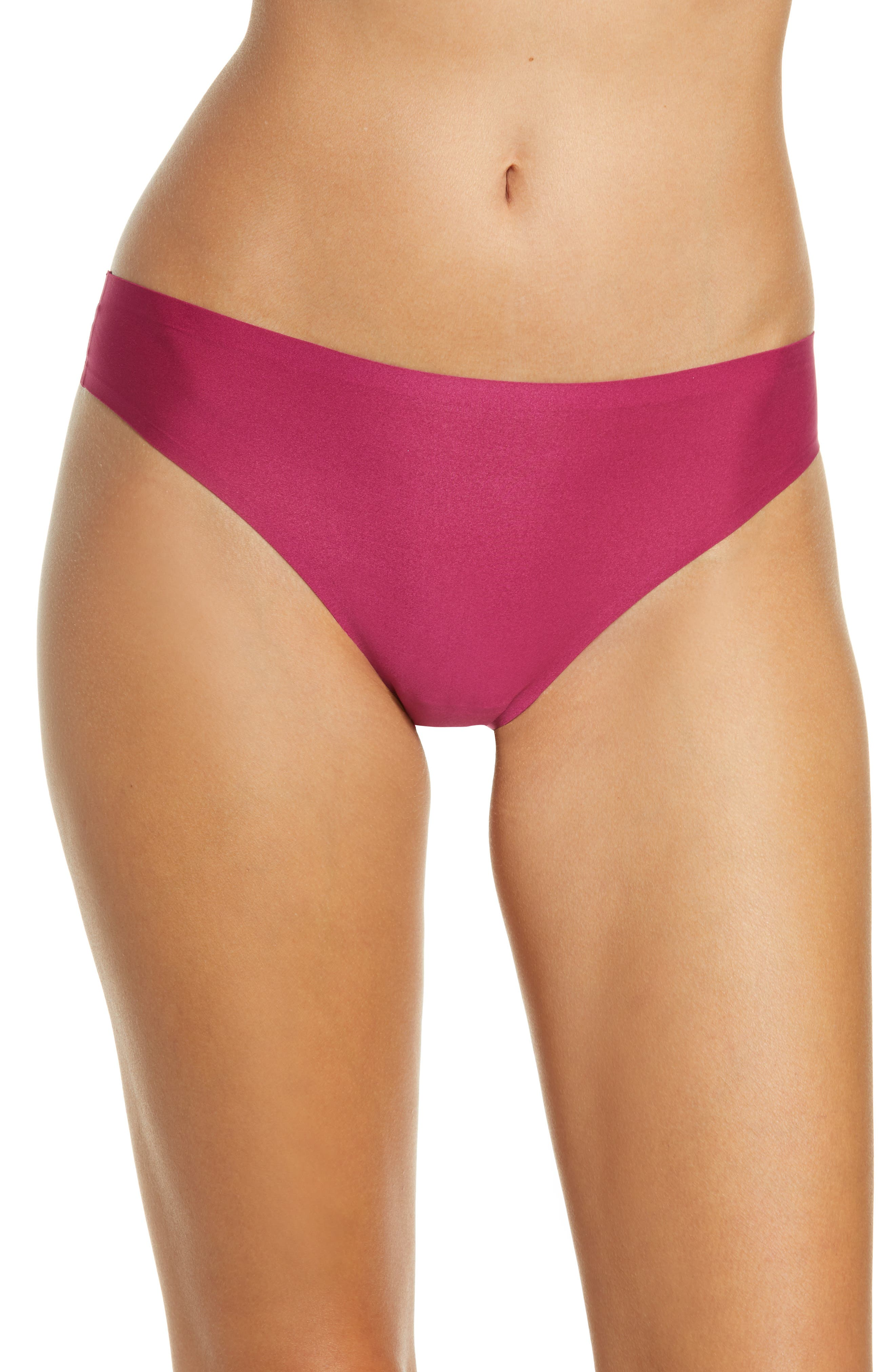 Get a line-free look without sacrificing comfort in this soft, stretchy thong cut with clean edges that disappear beneath clothes. Style Name: Chantelle Lingerie Soft Stretch Thong (Buy More & Save). Style Number: 5410886. Available in stores.