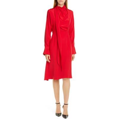 Jason Wu Long Sleeve Tie Neck Double Georgette Dress, Red