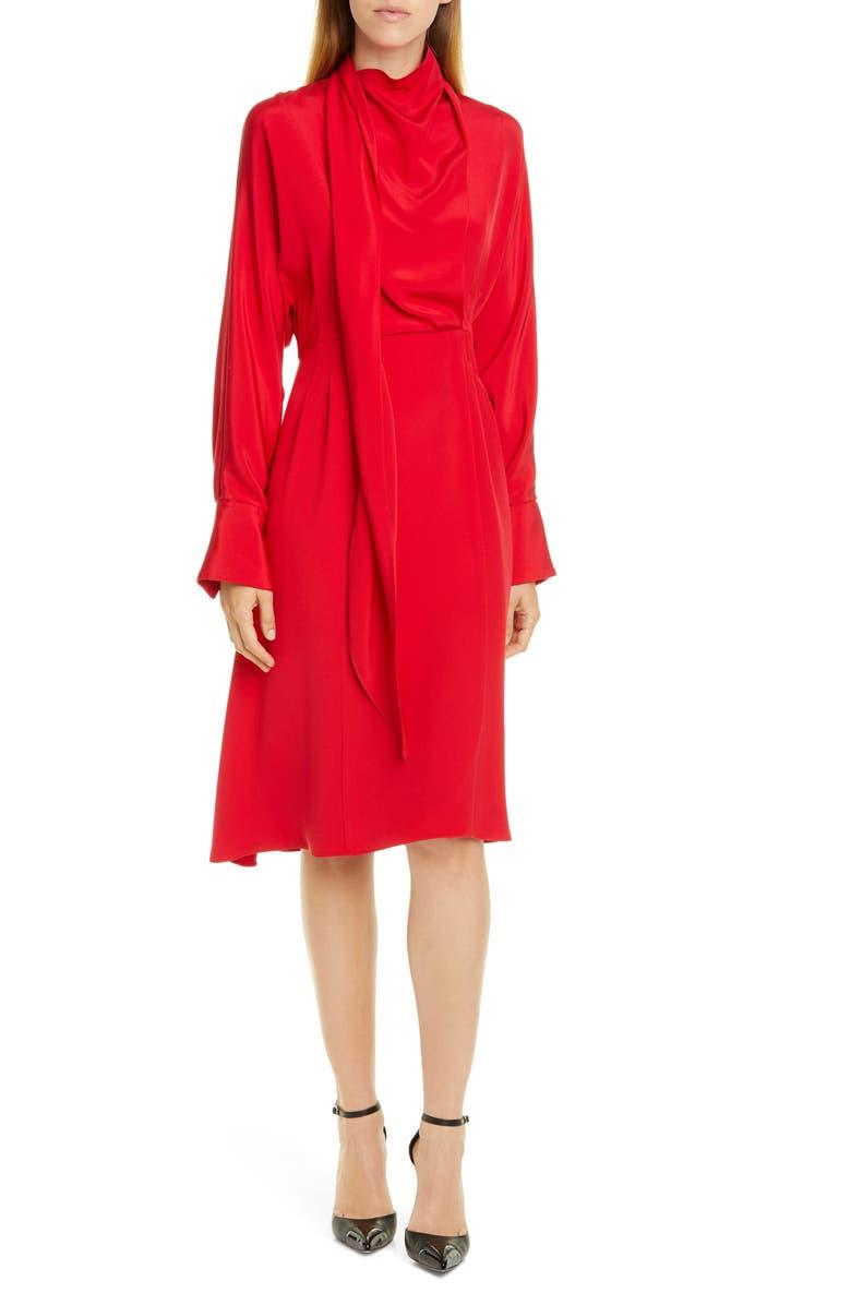 JASON WU Long Sleeve Tie Neck Double Georgette Dress, Main, color, VERMILLION