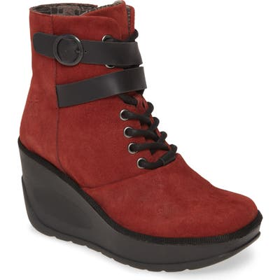Fly London Jabi Wedge Bootie, Red