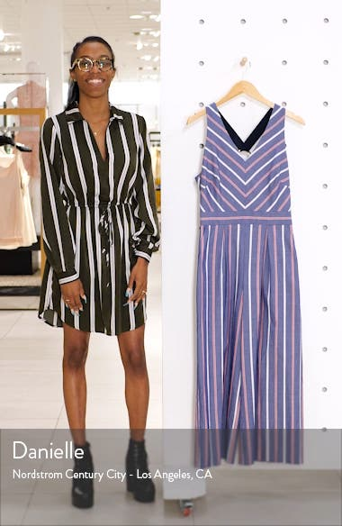 Chevron Stripe Sleeveless Jumpsuit, sales video thumbnail
