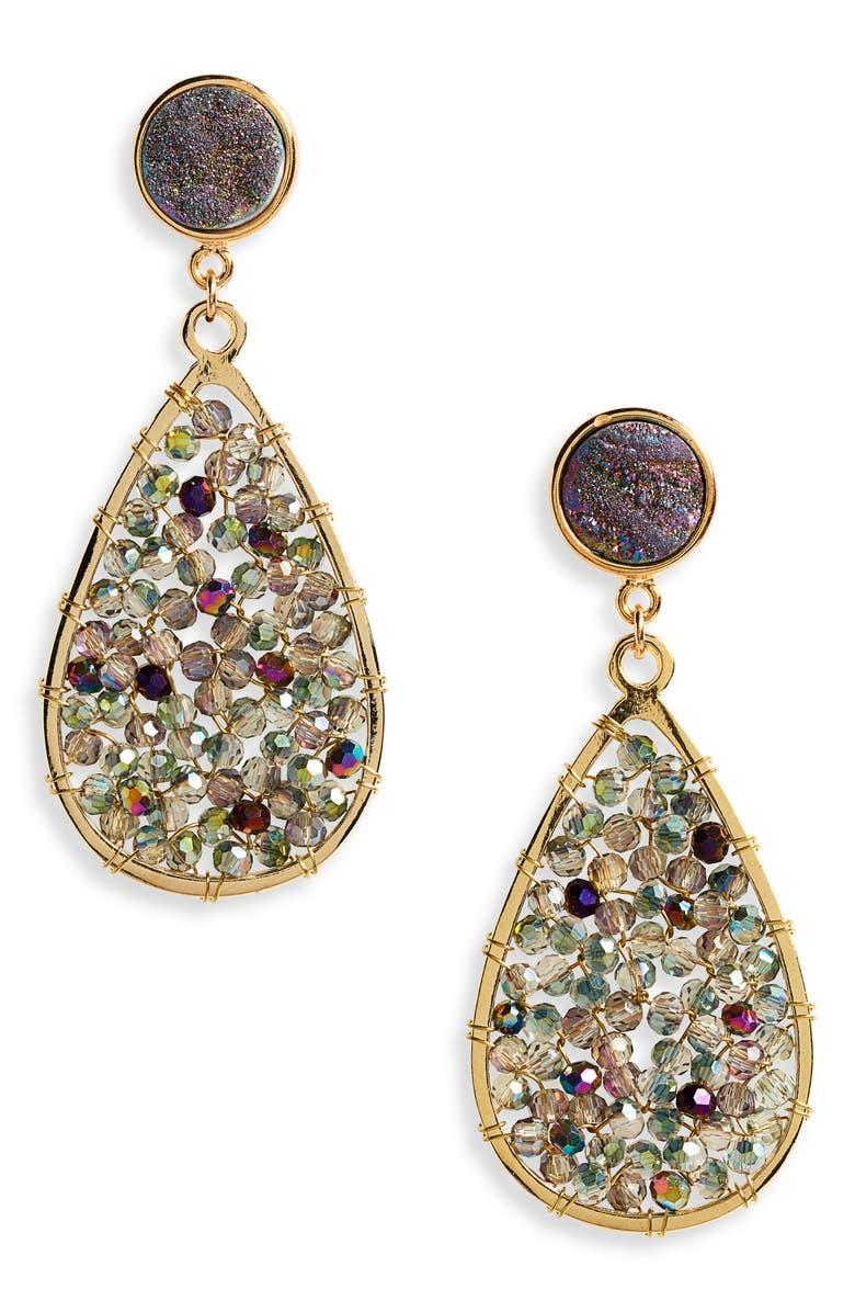 PANACEA Drusy Crystal Teardrop Earrings, Main, color, 400
