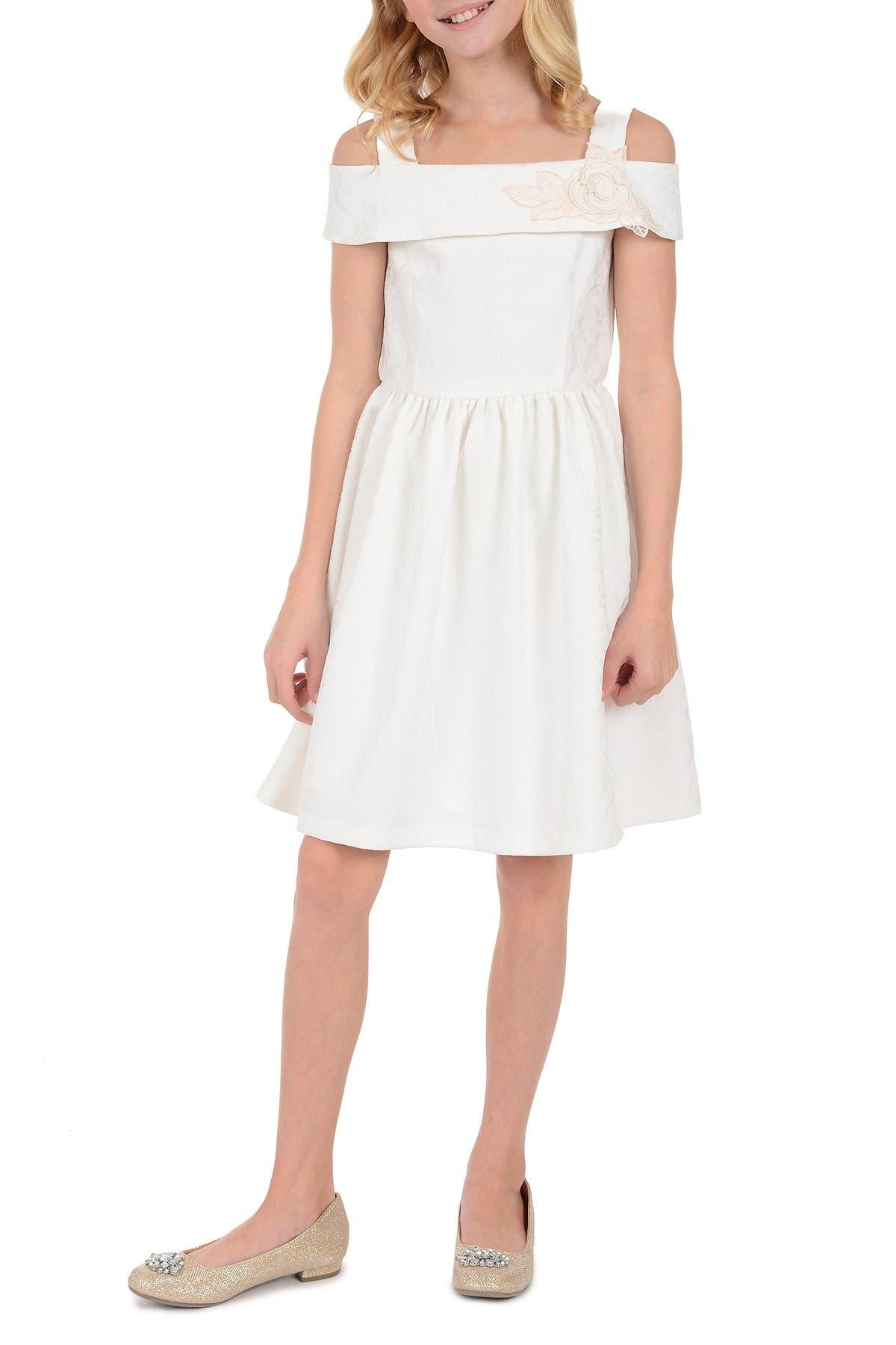 Image of Badgley Mischka Cold Shoulder Jacquard Dress
