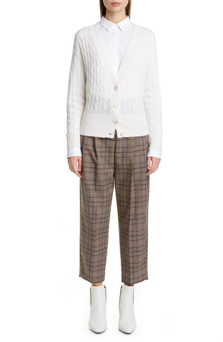 BRUNELLO CUCINELLI Prince of Wales Check Crop Trousers, Main, color, BROWN BLUE