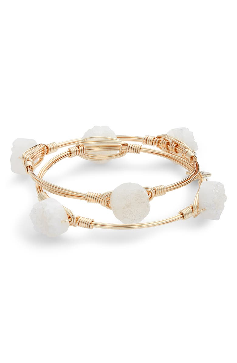 BOURBON AND BOWETIES Bourbon & Bowties Set of 2 Drusy Bangles, Main, color, WHITE/WHITE