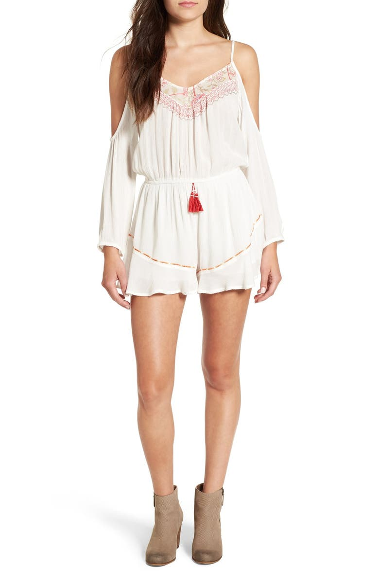 BAND OF GYPSIES Embellished Cold Shoulder Romper, Main, color, 900