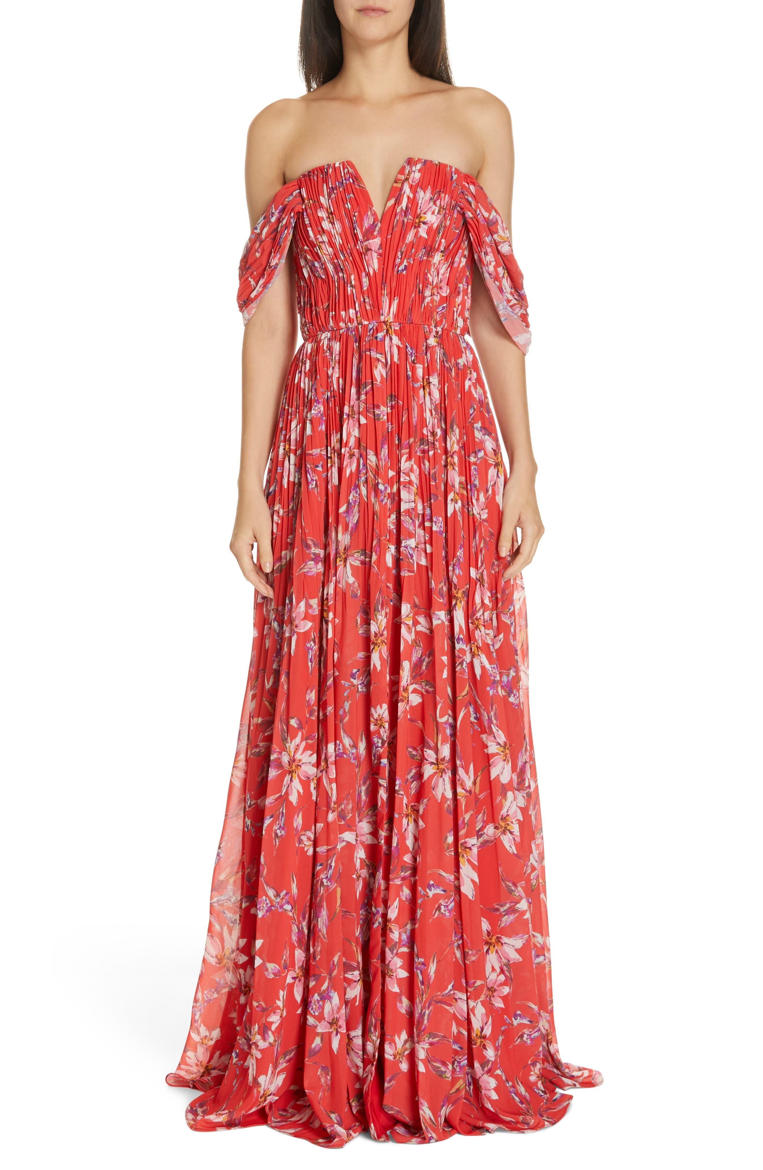 Amur Kyla Off The Shoulder Chiffon Maxi Dress, Red