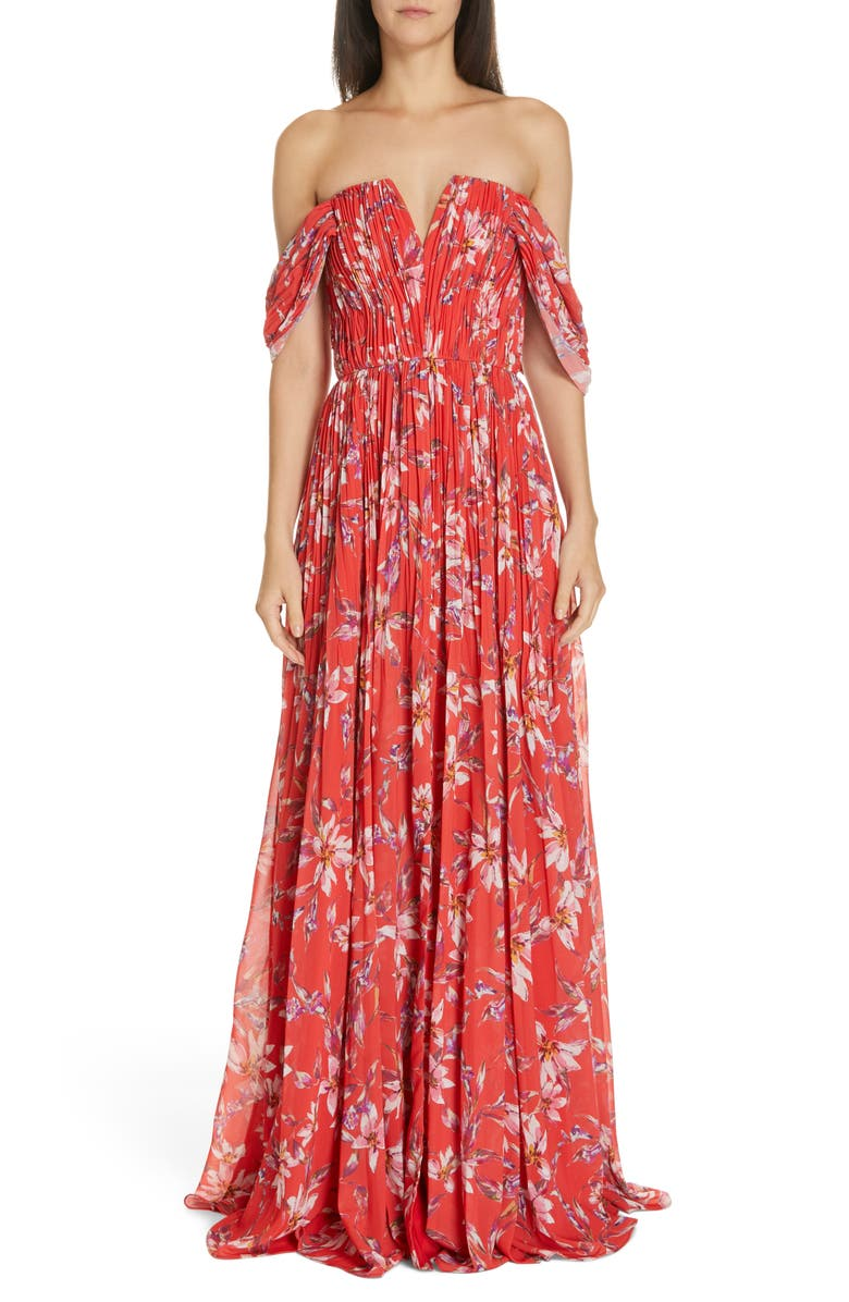 AMUR Kyla Off the Shoulder Chiffon Maxi Dress, Main, color, 600