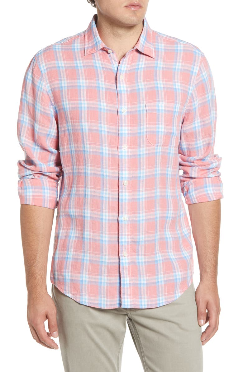FAHERTY Regular Fit Plaid Linen Button-Up Sport Shirt, Main, color, NEW CORAL PLAID