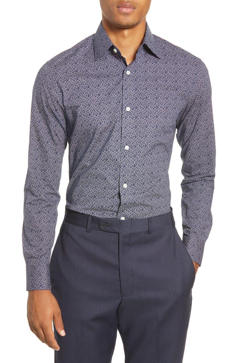 BONOBOS Slim Fit Stretch Dress Shirt, Main, color, CONFETTI BURST RAINSTORM