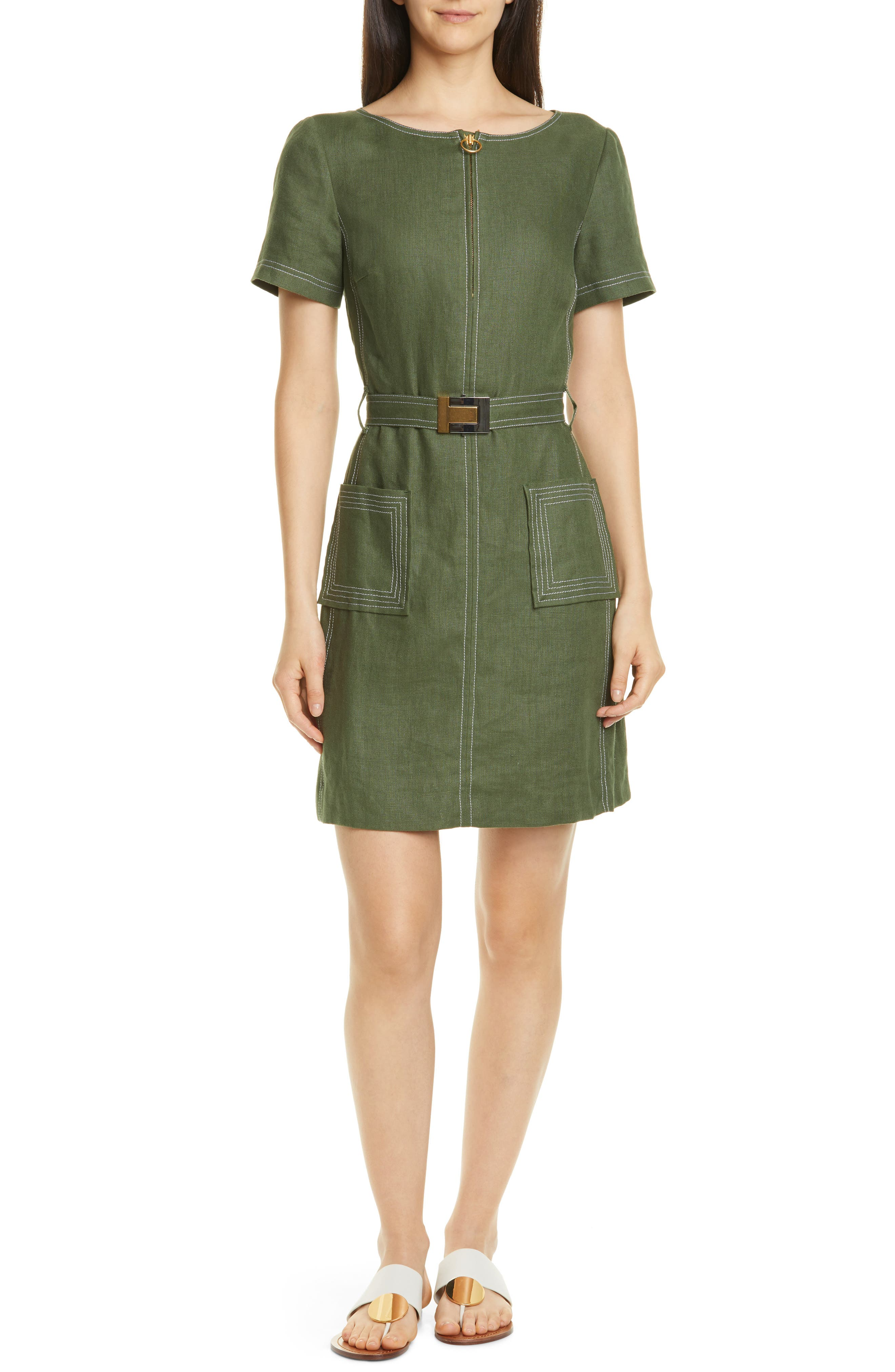 c8e65b5341 Tory Burch Belted Linen Dress, Green