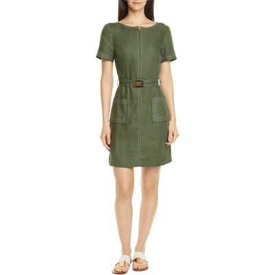 Tory Burch Belted Linen Dress, Green