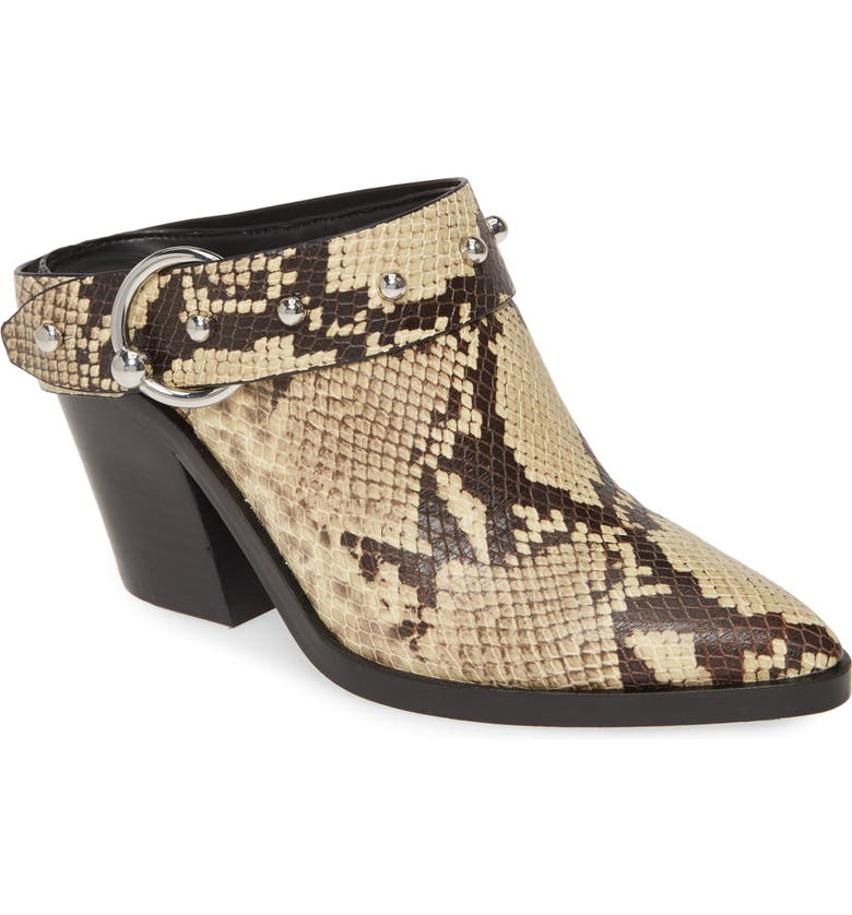 REBECCA MINKOFF Sallest Too Studded Mule, Main, color, BUTTER EXOTIC LEATHER