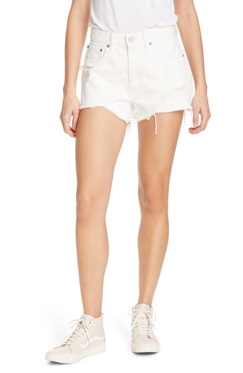 MOUSSY VINTAGE Montclair Distressed Denim Shorts, Main, color, WHITE