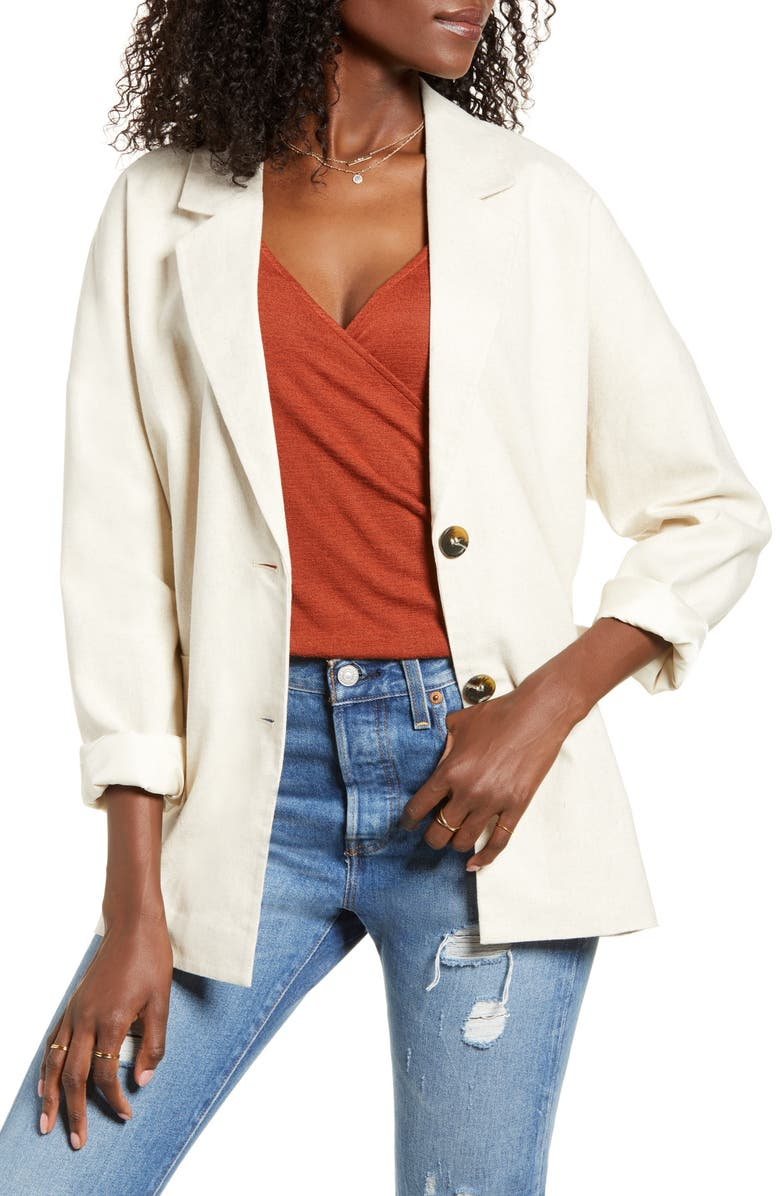ALL IN FAVOR Single Breasted Blazer, Main, color, LINEN