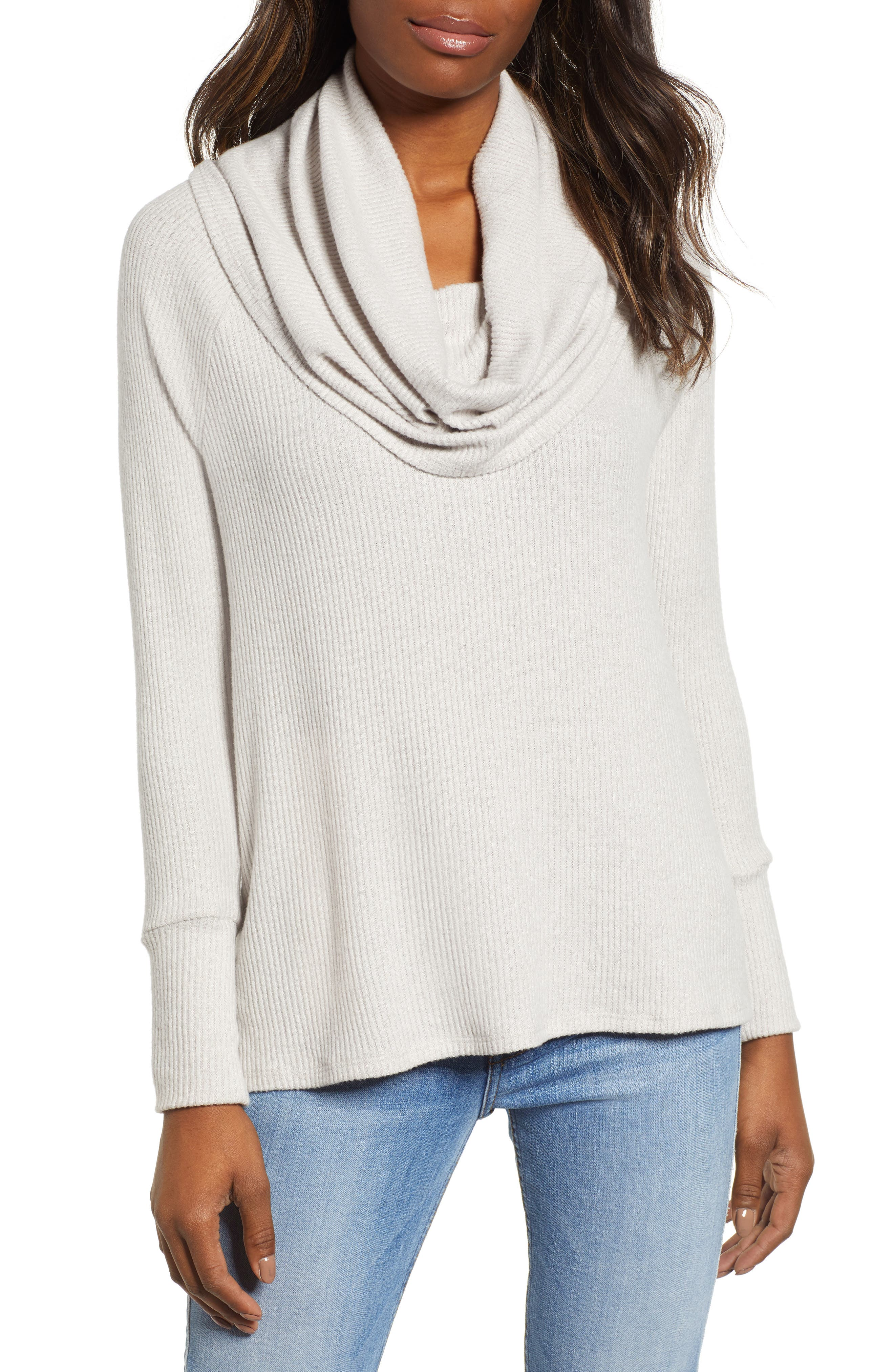 Petite Gibson X Living In Yellow Ribbed Cowl Neck Sweater, Ivory