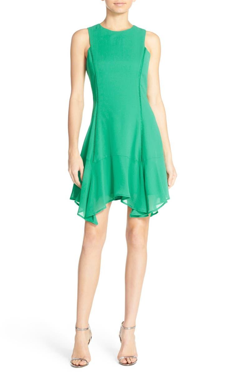ADELYN RAE Ruffle Hem Crepe Fit & Flare Dress, Main, color, 300