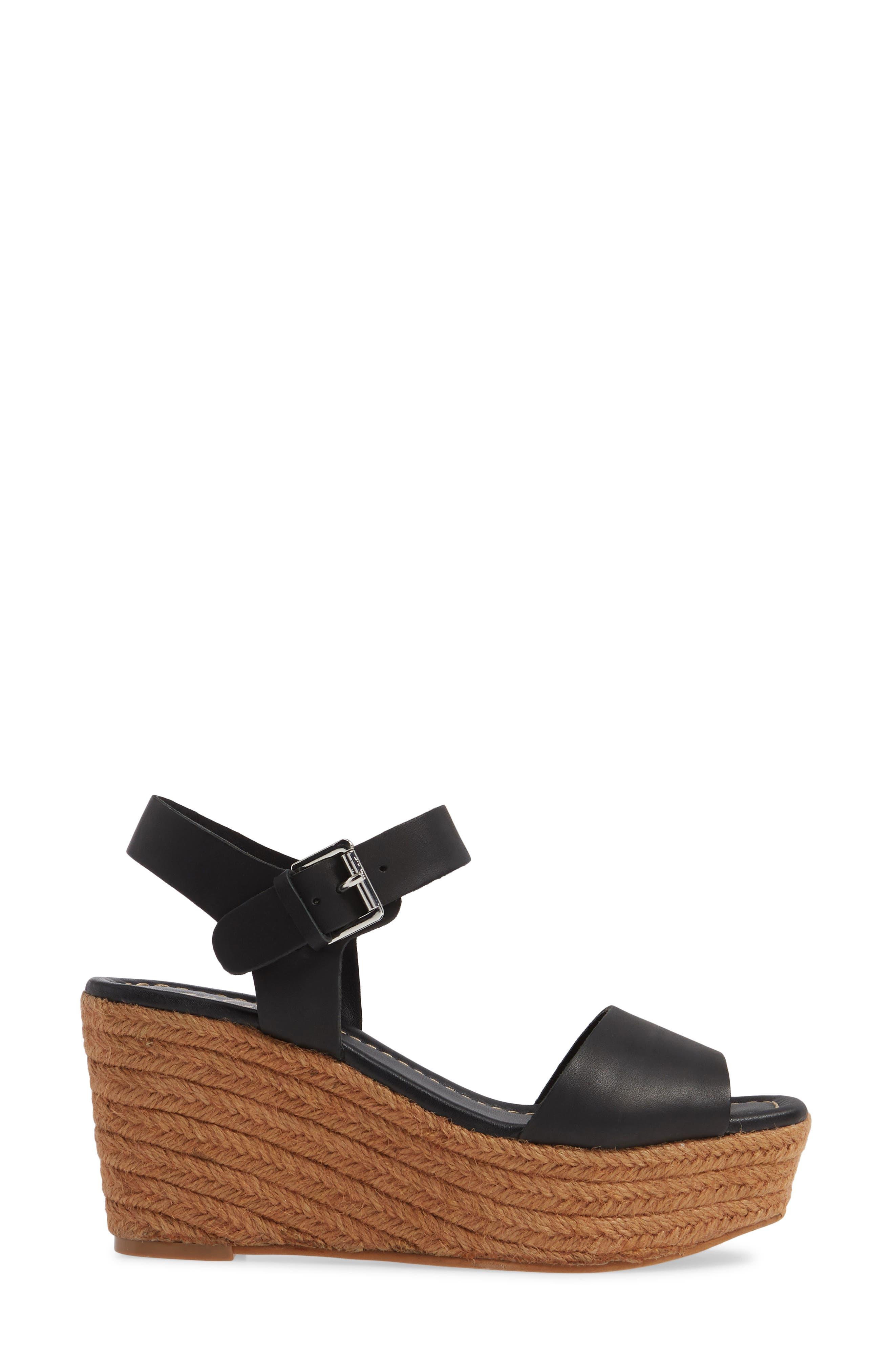 ,                             Maine Platform Wedge Sandal,                             Alternate thumbnail 3, color,                             BLACK LEATHER