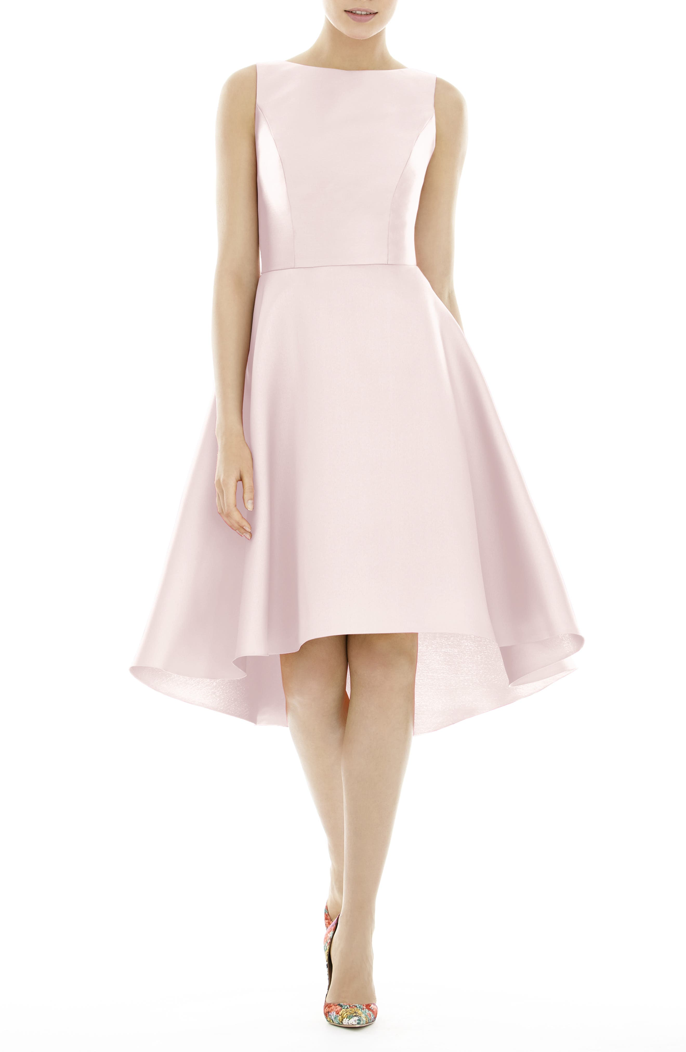 Alfred Sung High/low Satin Twill Cocktail Dress, Pink