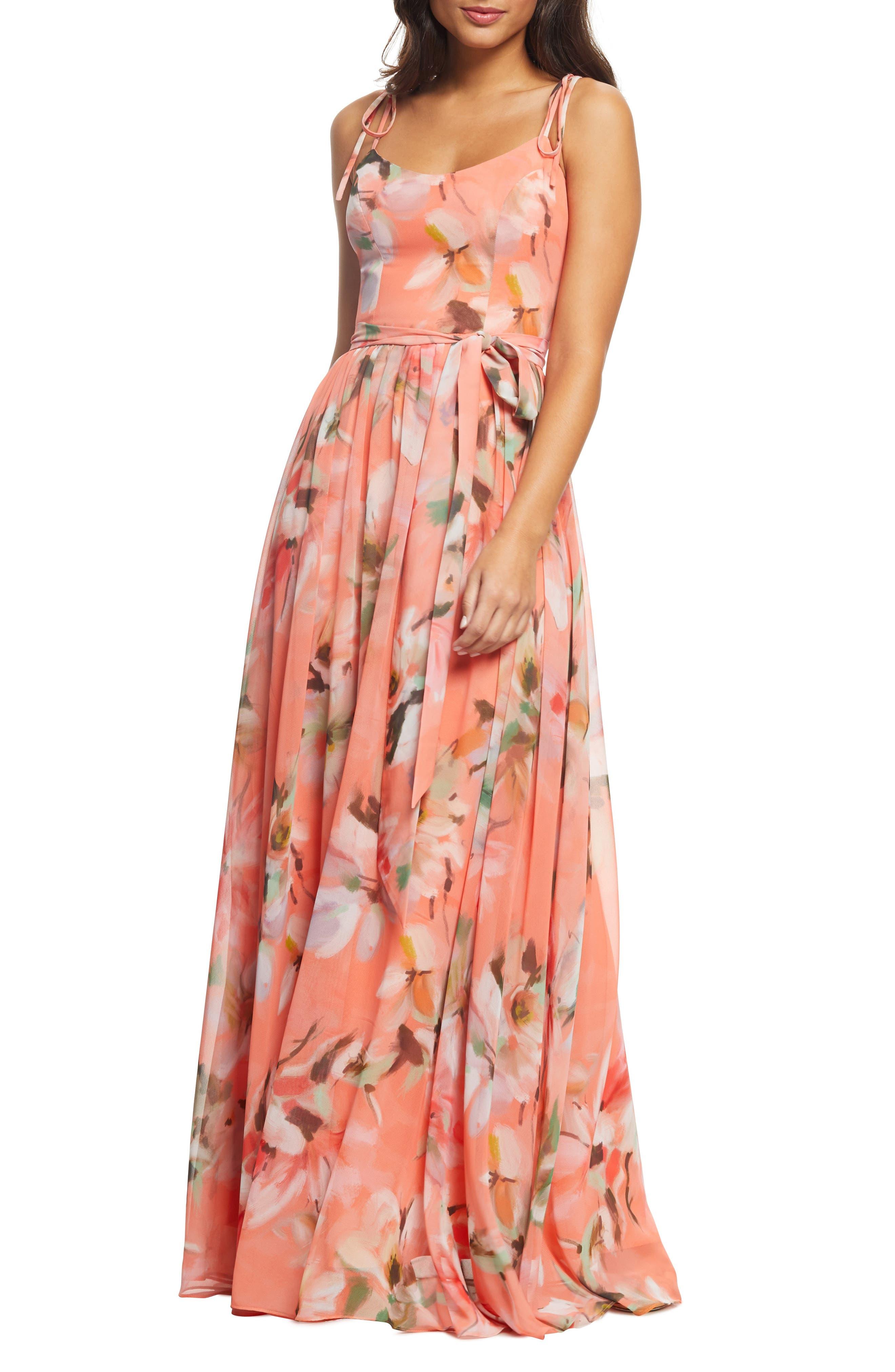 Dress The Population Hollie Floral Maxi Dress, Coral