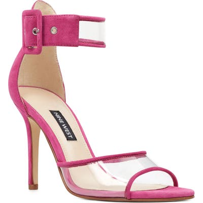 Nine West Mila Clear Strap Sandal, Pink