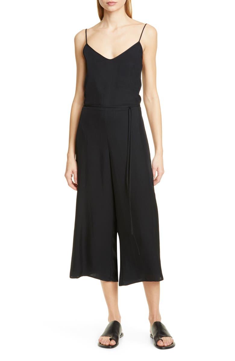 VINCE Cami Wide Leg Crop Jumpsuit, Main, color, 001