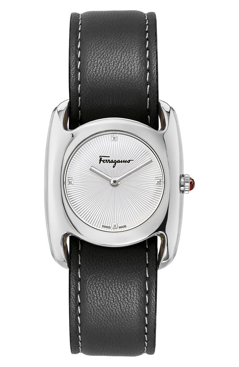 SALVATORE FERRAGAMO Salvatore Feragamo Vara Leather Strap Watch, 28mm x 34mm, Main, color, BLACK/ WHITE GUILLOCHE/ SILVER