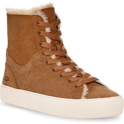Ugg Beven Genuine Shearling High Top Sneaker, Brown