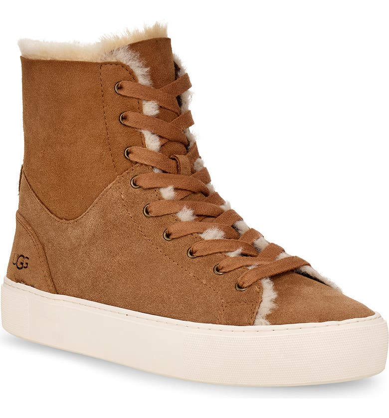 UGG<SUP>®</SUP> Beven Genuine Shearling High Top Sneaker, Main, color, CHESTNUT SUEDE