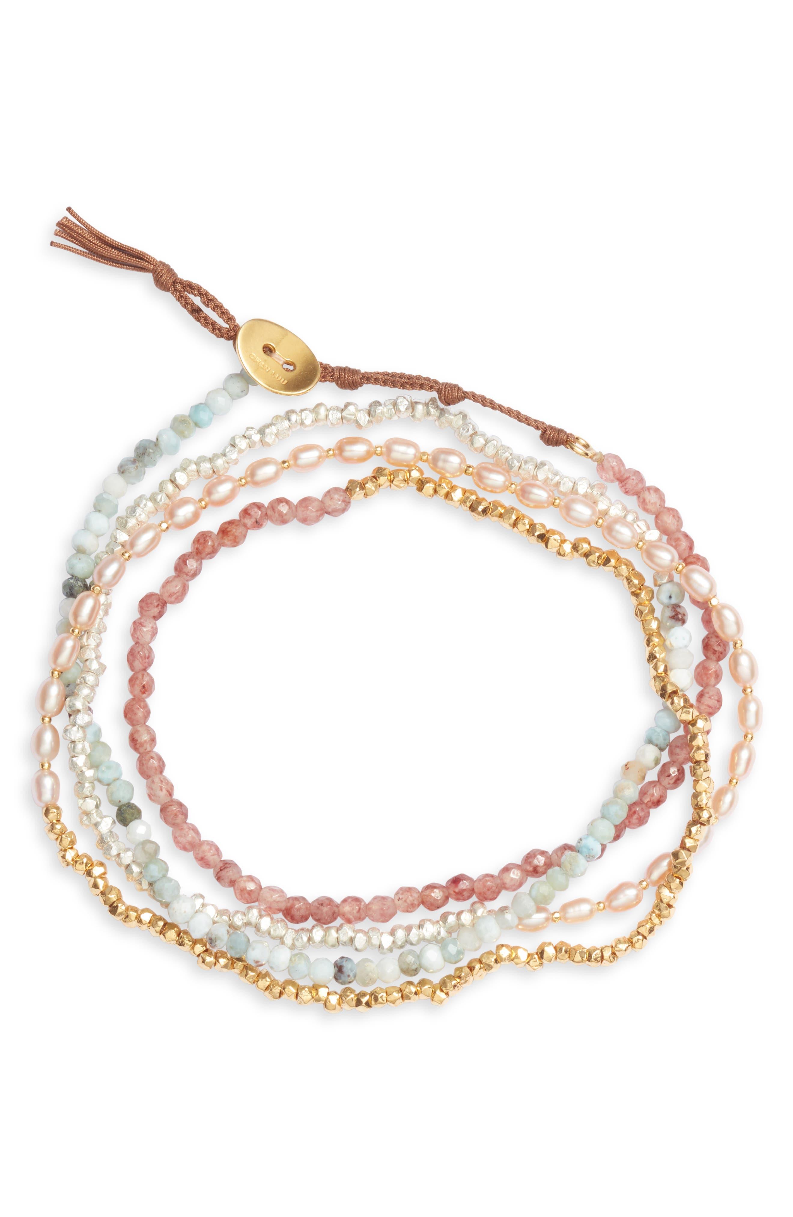 Freshwater Pearl & Gold Naked Wrap Bracelet