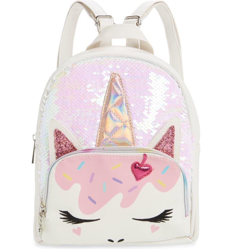 OMG Ice Cream Unicorn Backpack, Main, color, WHITE