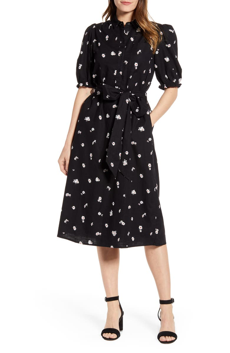LUCKY BRAND Camille Daisy Print Cotton Shirtdress, Main, color, 009