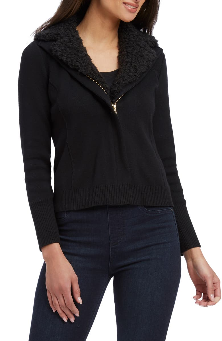 NIC+ZOE Zip-Up Cardigan, Main, color, BLACK ONYX