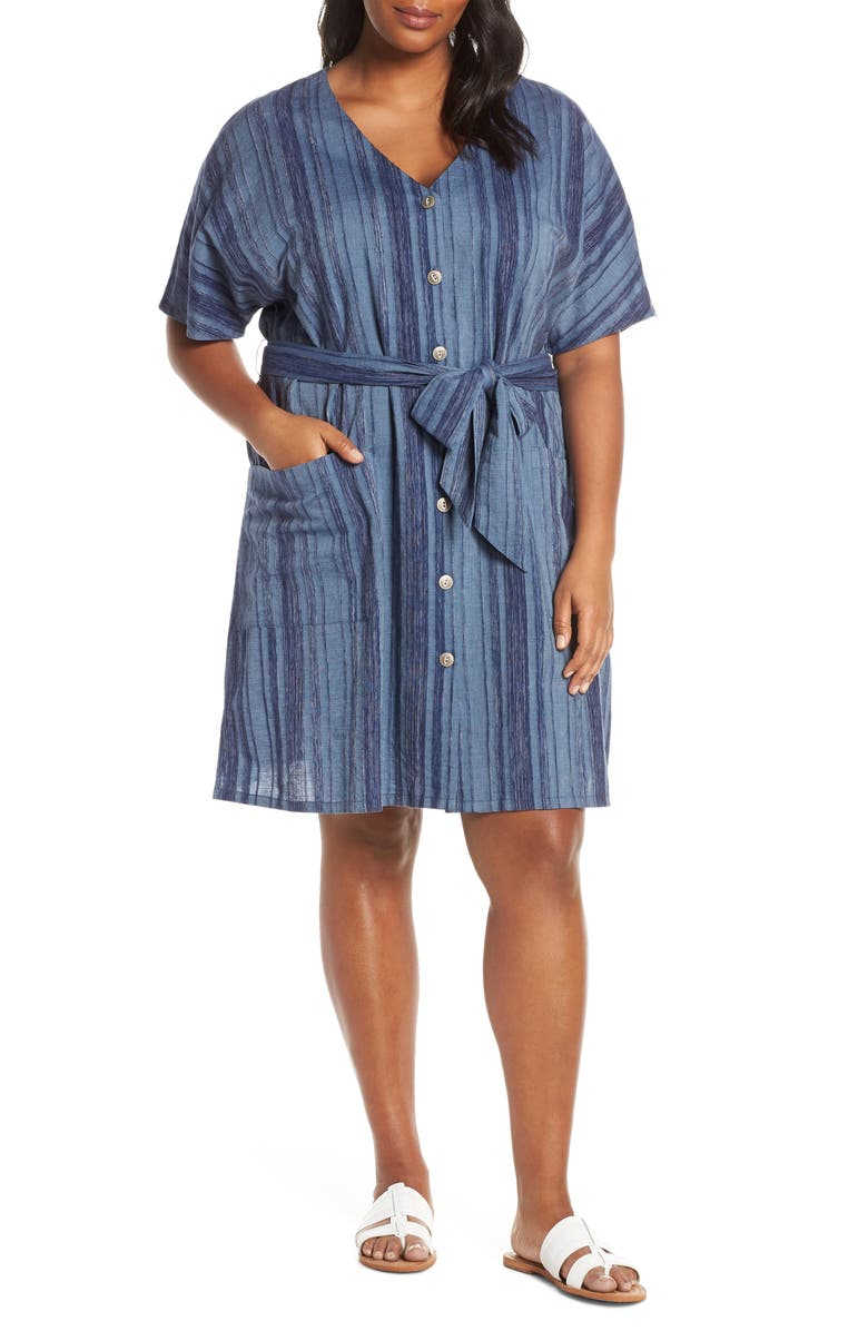 CASLON<SUP>®</SUP> Stripe Button Front Belted Cotton Dress, Main, color, NAVY SPACEDYE