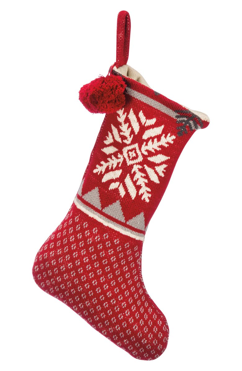 PRIMITIVES BY KATHY Big Snowflake Stocking, Main, color, RED