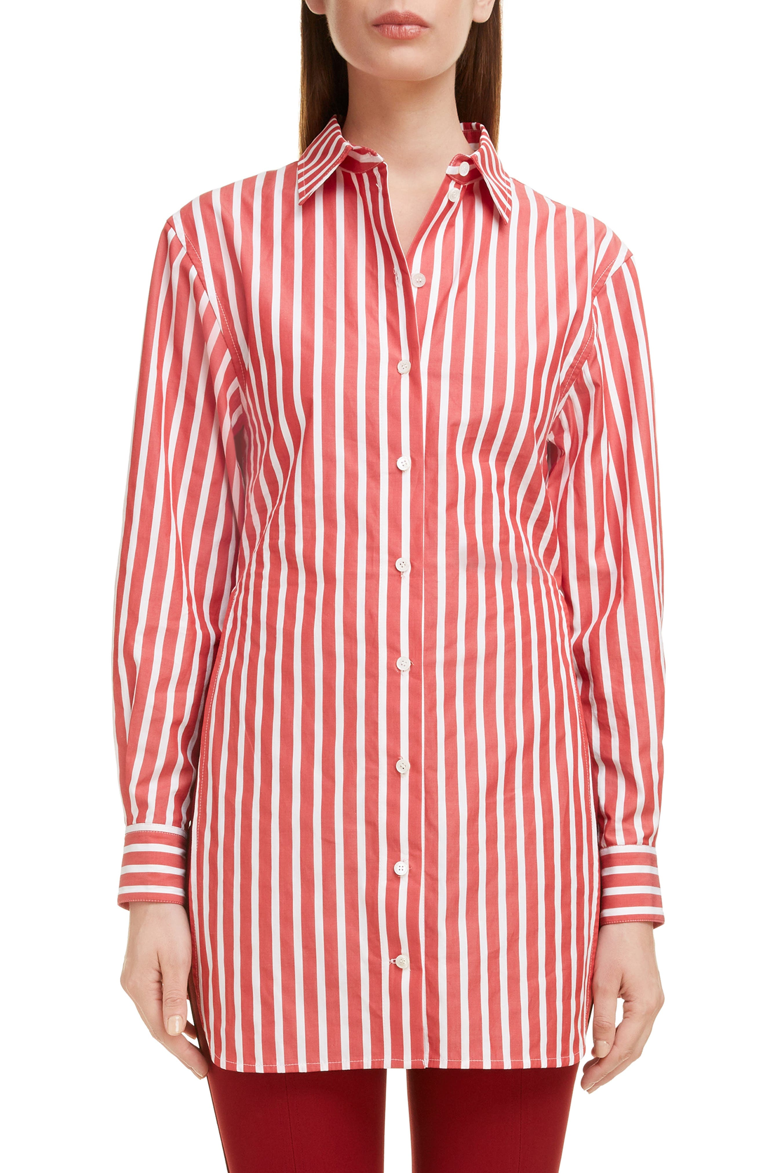 Side Split Martingale Shirt, Main, color, RED-WHITE