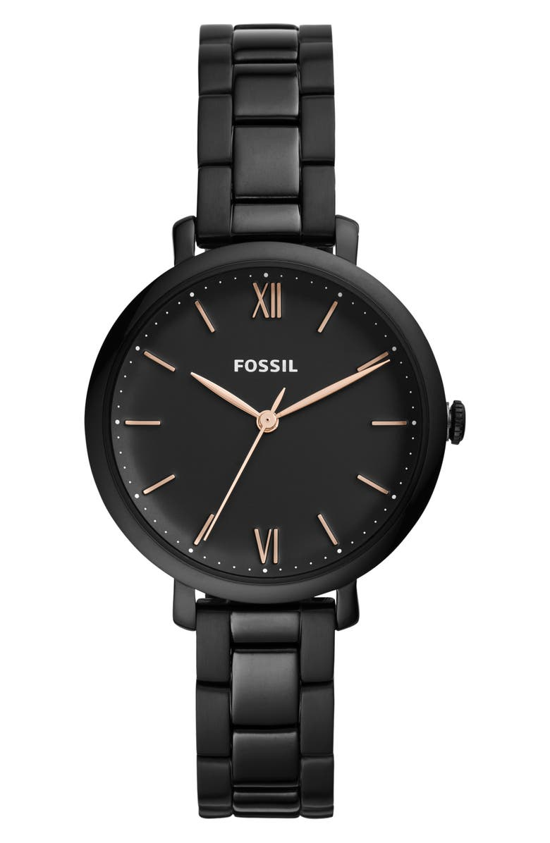 FOSSIL Jacqueline Bracelet Watch, 36mm, Main, color, BLACK