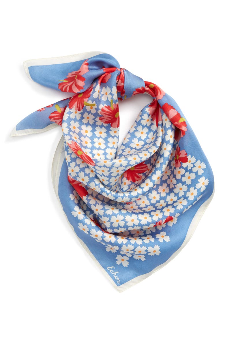 ECHO Tossed Floral Square Silk Scarf, Main, color, COASTAL BLUE