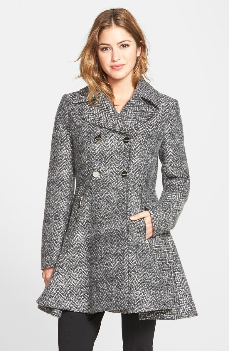 LAUNDRY BY SHELLI SEGAL Chevron Twill Double Breasted Skirted Coat, Main, color, 020
