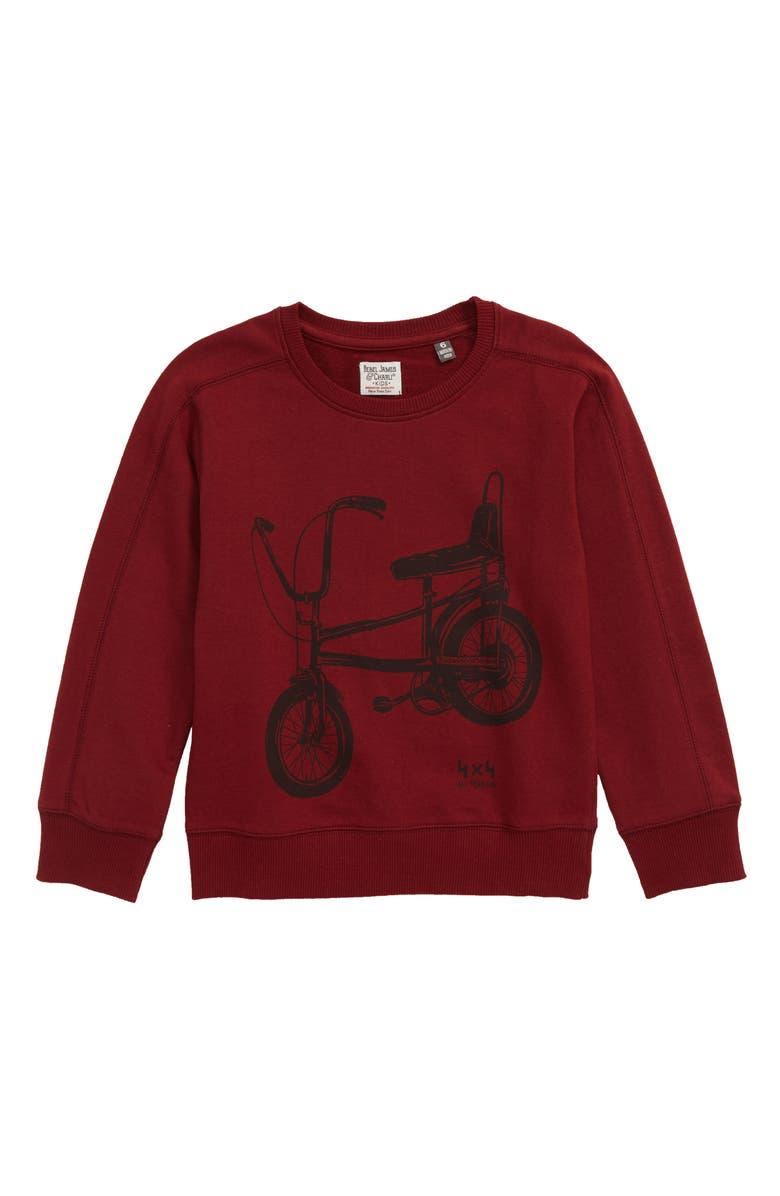 REBEL JAMES & CHARLI Bicycle Sweatshirt, Main, color, BURGUNDY