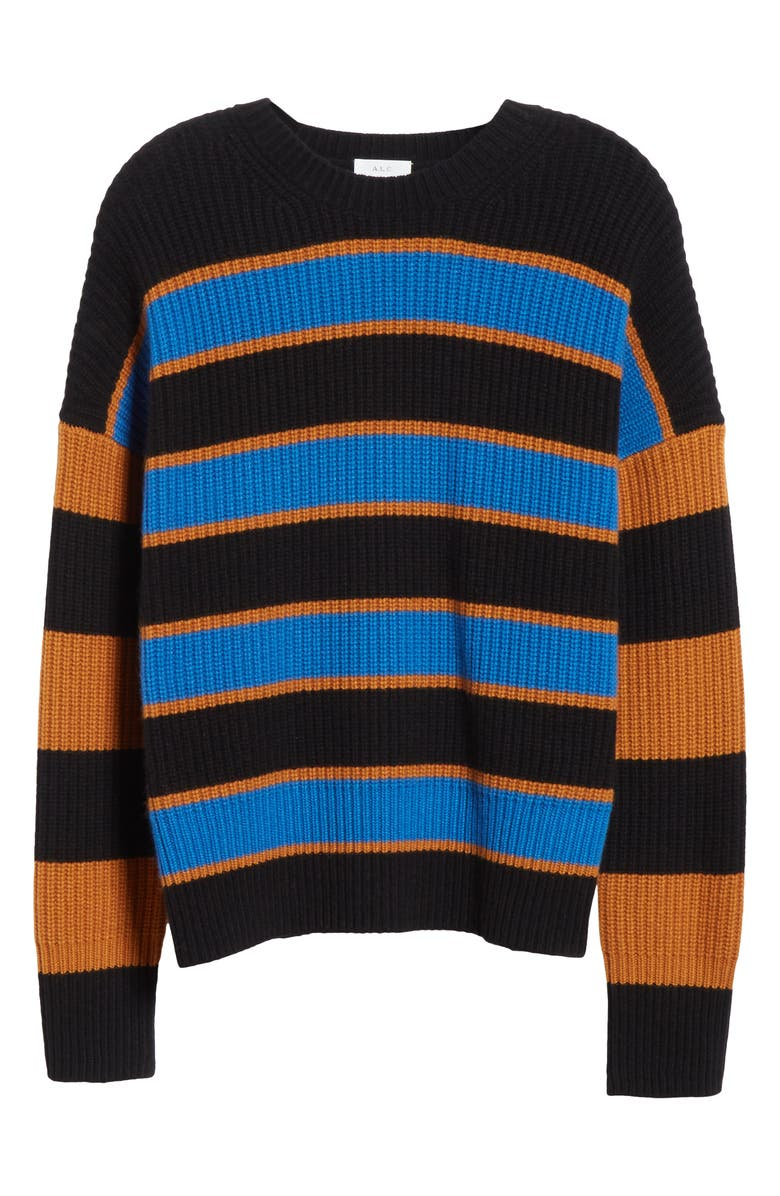 A.L.C. Roman Stripe Rib Wool Blend Sweater, Alternate, color, COBALT/ CARAMEL/ BLACK
