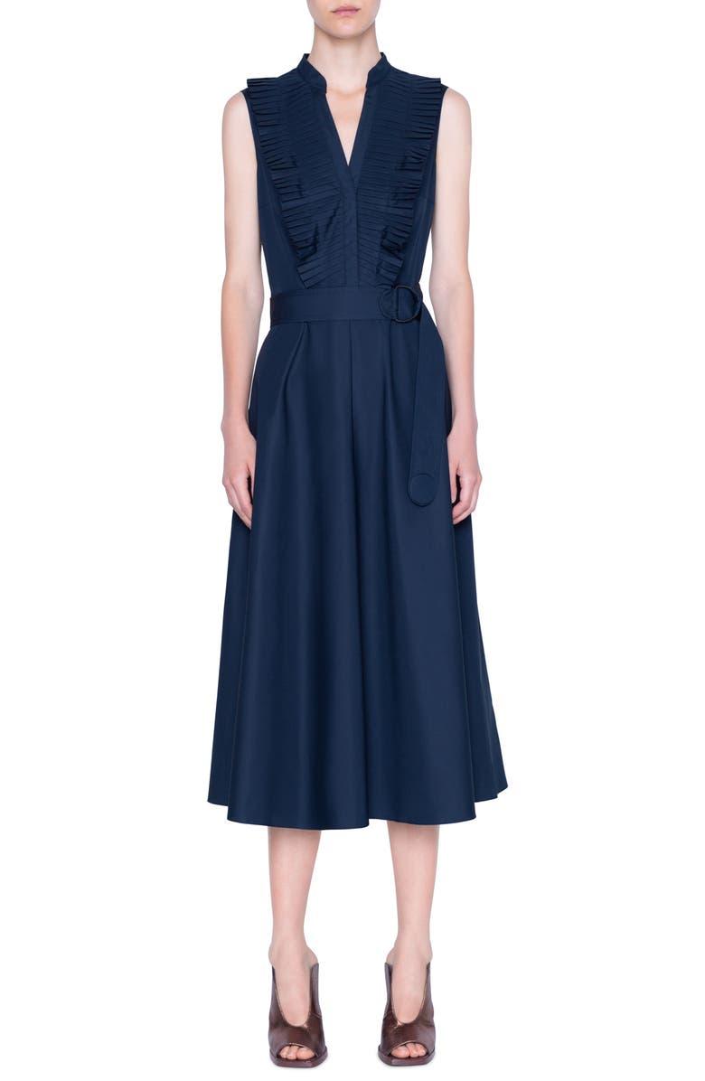 AKRIS PUNTO Ruffle Sleeveless Midi Dress, Main, color, NIGHT SKY