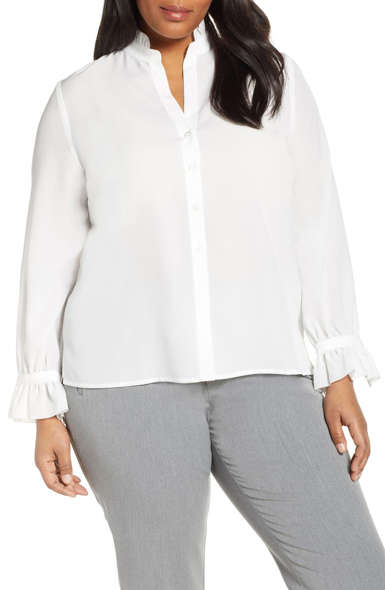 ELOQUII Ruffle Detail Long Sleeve Blouse, Main, color, SOFT WHITE